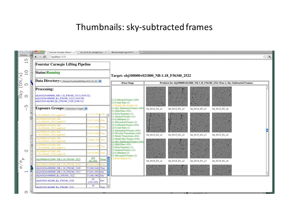 Thumbnails: sky-subtracted frames