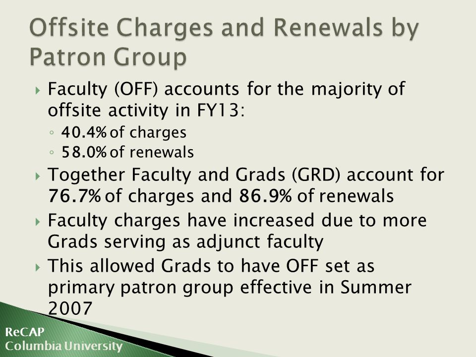  Faculty (OFF) accounts for the majority of offsite activity in FY13: ◦ 40.4% of charges ◦ 58.0% of renewals  Together Faculty and Grads (GRD) account for 76.7% of charges and 86.9% of renewals  Faculty charges have increased due to more Grads serving as adjunct faculty  This allowed Grads to have OFF set as primary patron group effective in Summer 2007 ReCAP Columbia University