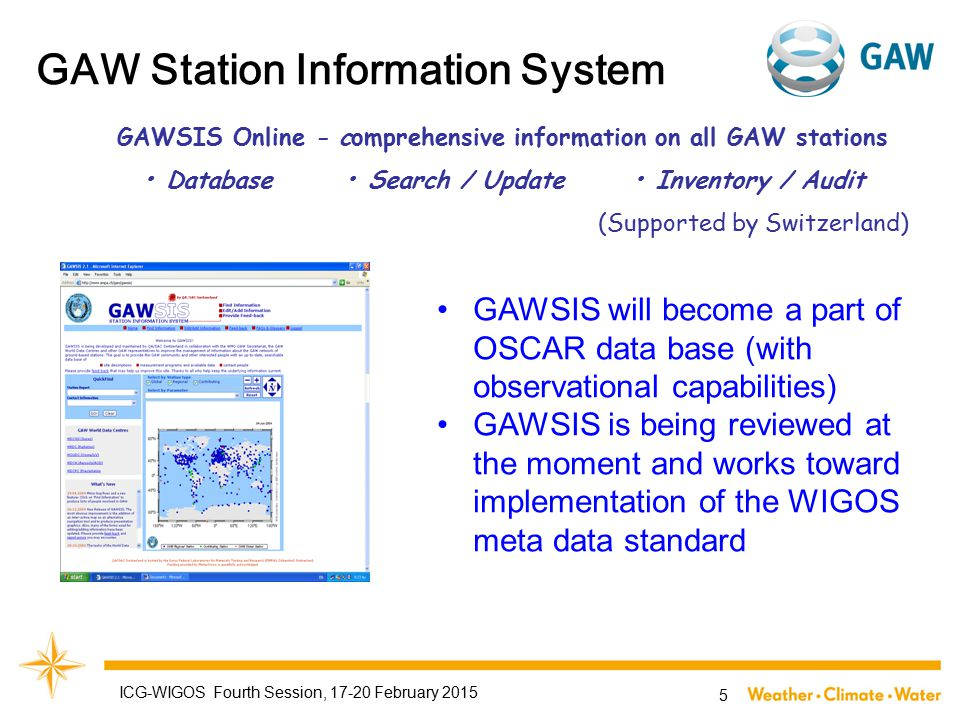 GAW Station Information System GAWSIS Online - comprehensive information on all GAW stations Database Search / Update Inventory / Audit (Supported by Switzerland) GAWSIS will become a part of OSCAR data base (with observational capabilities) GAWSIS is being reviewed at the moment and works toward implementation of the WIGOS meta data standard ICG-WIGOS Fourth Session, 17-20 February 2015 5