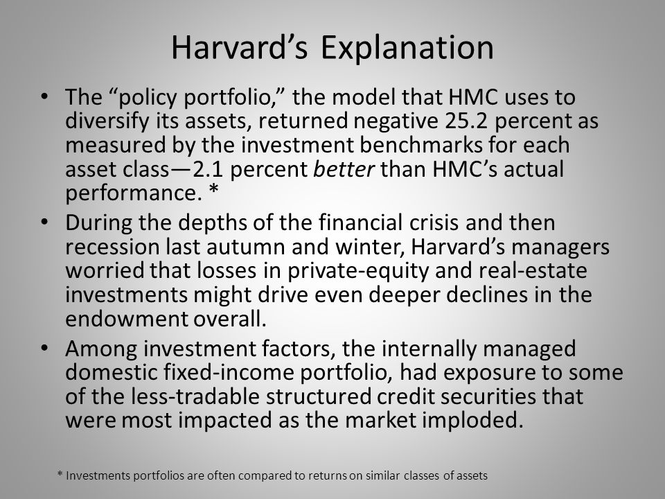 """Harvard's Explanation The """"policy portfolio,"""" the model that HMC uses to diversify its assets, returned negative 25.2 percent as measured by the inves"""