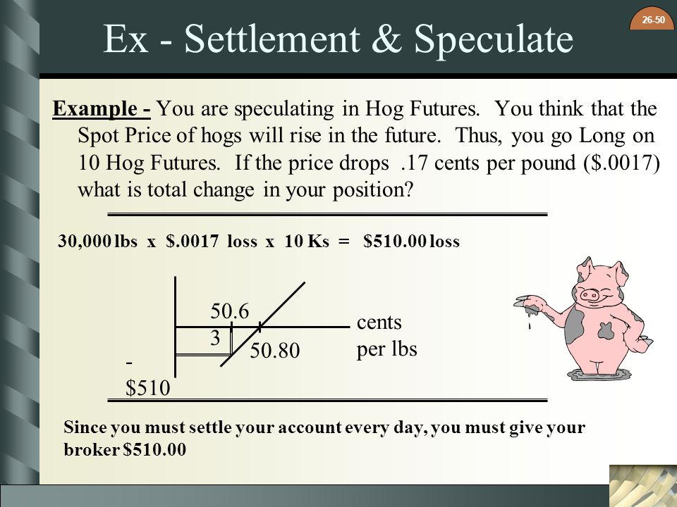 26-50 Ex - Settlement & Speculate Example - You are speculating in Hog Futures. You think that the Spot Price of hogs will rise in the future. Thus, y