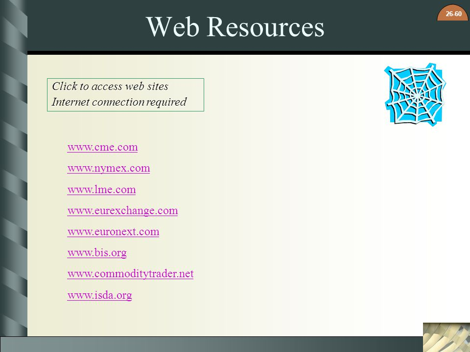 26-60 Web Resources Click to access web sites Internet connection required www.cme.com www.nymex.com www.lme.com www.eurexchange.com www.euronext.com