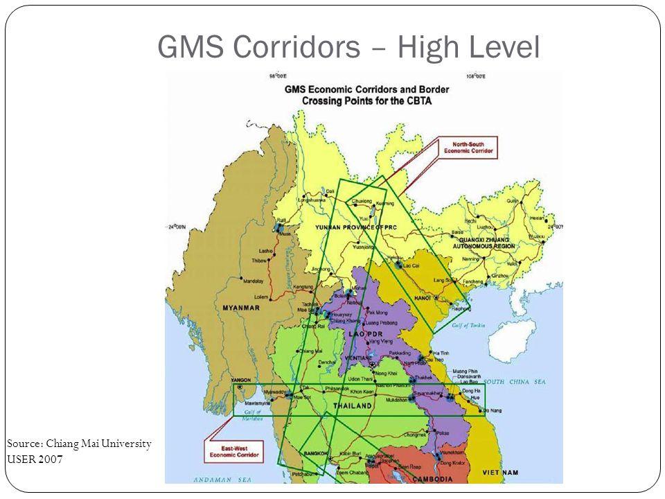 GMS Corridors – High Level Source: Chiang Mai University USER 2007