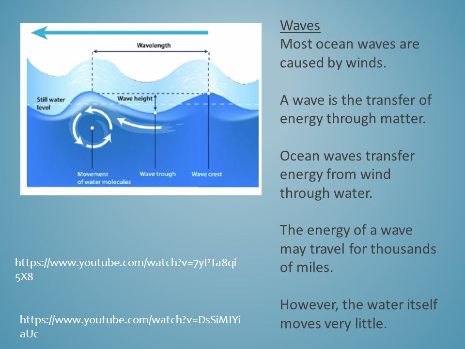Waves Most ocean waves are caused by winds. A wave is the transfer of energy through matter.