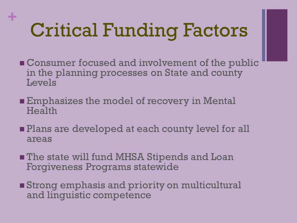+ MHSA Funding Initiatives Community Services and Supports Workforce Education and Training Prevention Early Intervention Innovative Interventions Capital Improvements