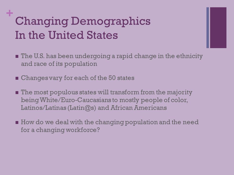 + Three Parts to this Presentation 1) Changing Demographics in the United States 2) Alliant's Latino Achievement Initiative and Activities 3) Recommendations