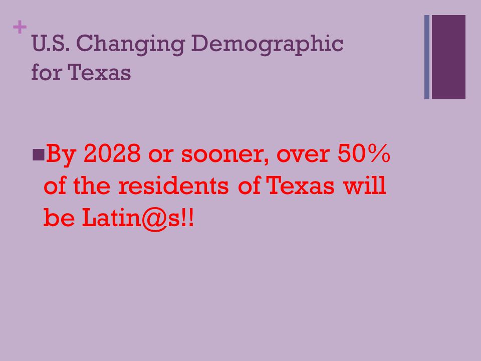 + U.S. Changing Demographic Among Latin@s in the U.S.