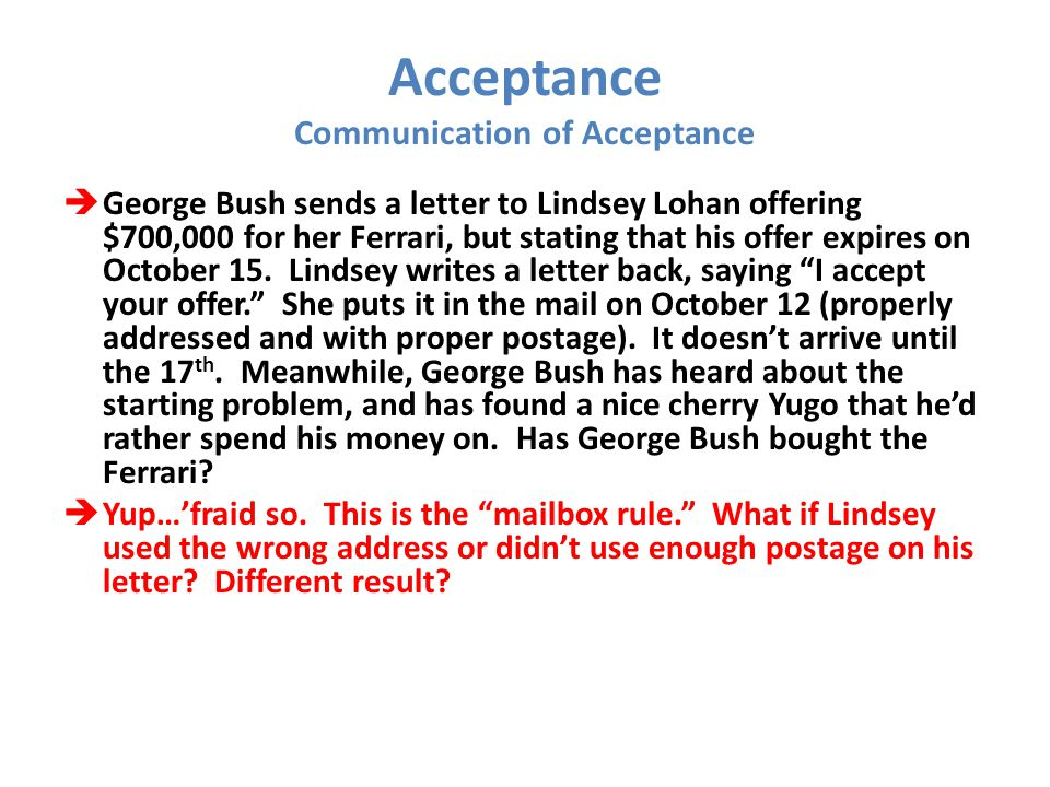 Acceptance Communication of Acceptance  George Bush sends a letter to Lindsey Lohan offering $700,000 for her Ferrari, but stating that his offer exp