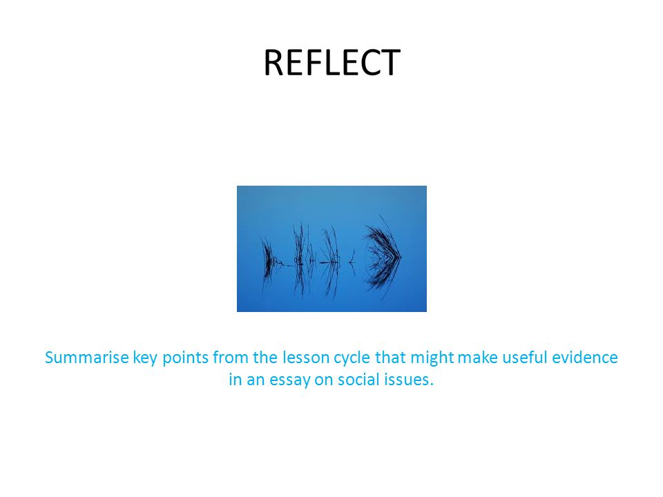 REFLECT Summarise key points from the lesson cycle that might make useful evidence in an essay on social issues.