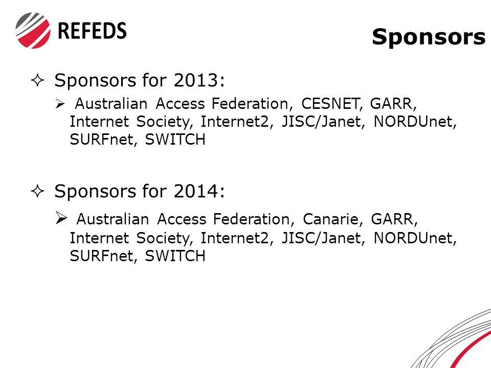 Sponsors  Sponsors for 2013:  Australian Access Federation, CESNET, GARR, Internet Society, Internet2, JISC/Janet, NORDUnet, SURFnet, SWITCH  Sponsors for 2014:  Australian Access Federation, Canarie, GARR, Internet Society, Internet2, JISC/Janet, NORDUnet, SURFnet, SWITCH