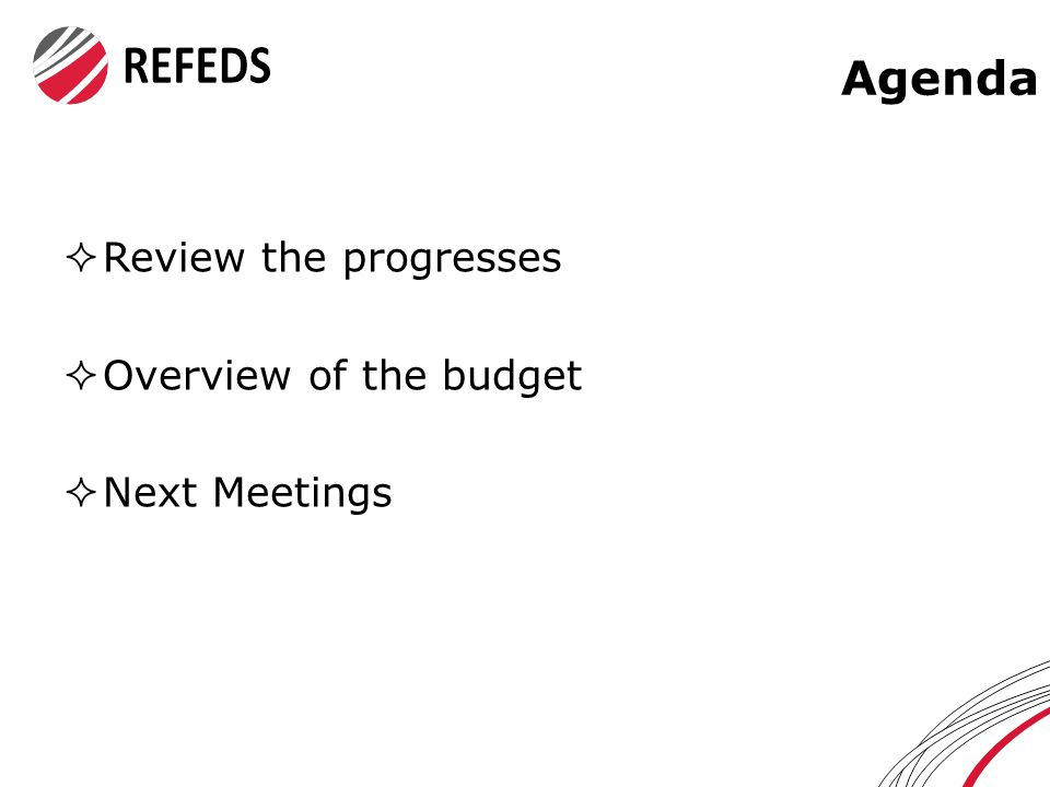 Agenda  Review the progresses  Overview of the budget  Next Meetings