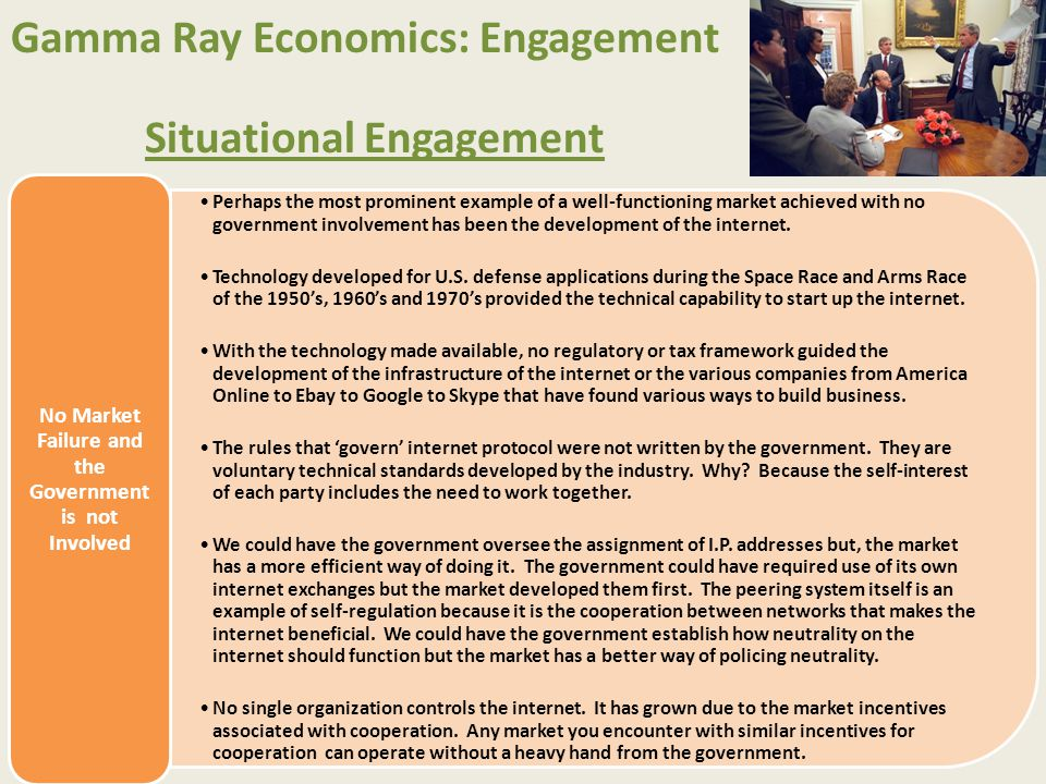 Gamma Ray Economics: Engagement Situational Engagement Perhaps the most prominent example of a well-functioning market achieved with no government inv
