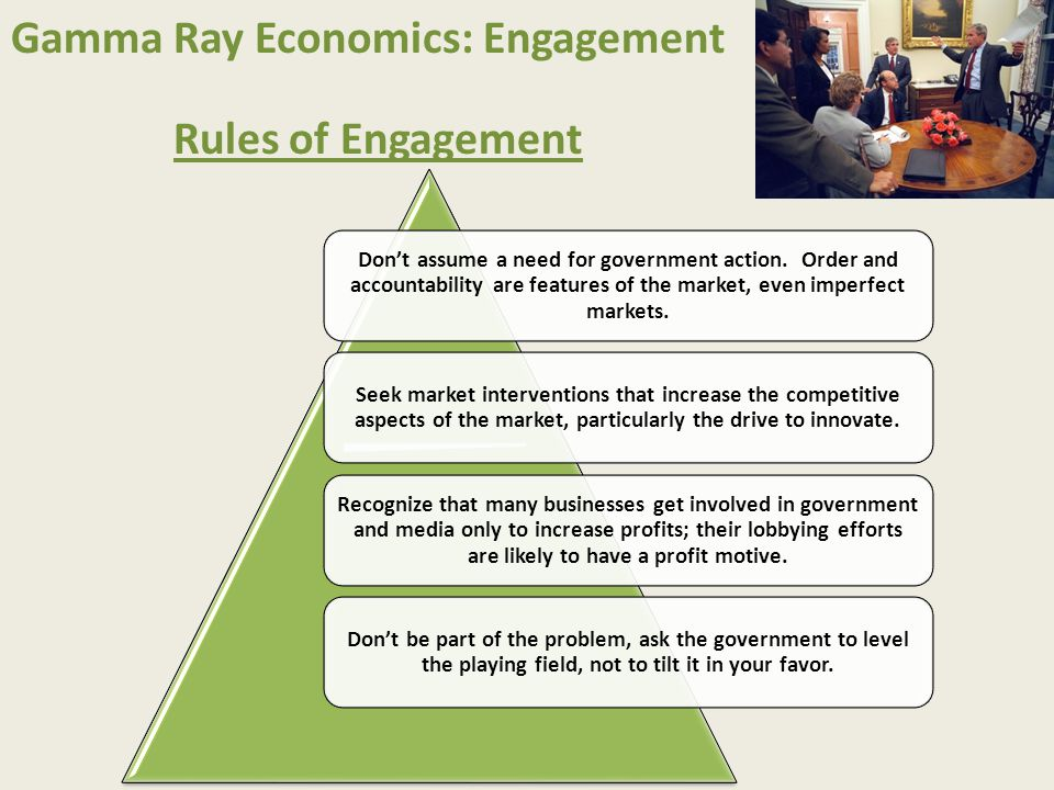 Gamma Ray Economics: Engagement Rules of Engagement Don't assume a need for government action. Order and accountability are features of the market, ev