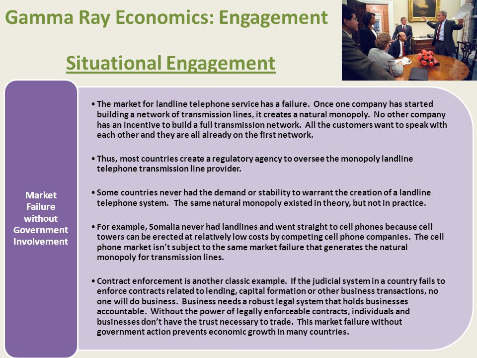 Gamma Ray Economics: Engagement Situational Engagement Without government involvement an efficient free market for housing would exist.