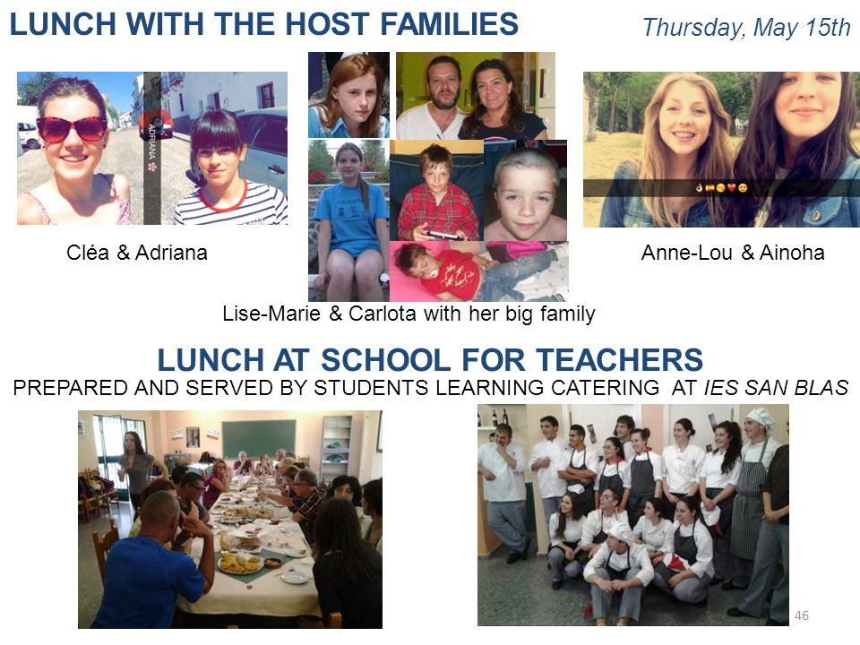 Thursday, May 15th 46 LUNCH WITH THE HOST FAMILIES LUNCH AT SCHOOL FOR TEACHERS PREPARED AND SERVED BY STUDENTS LEARNING CATERING AT IES SAN BLAS Cléa & Adriana Lise-Marie & Carlota with her big family Anne-Lou & Ainoha