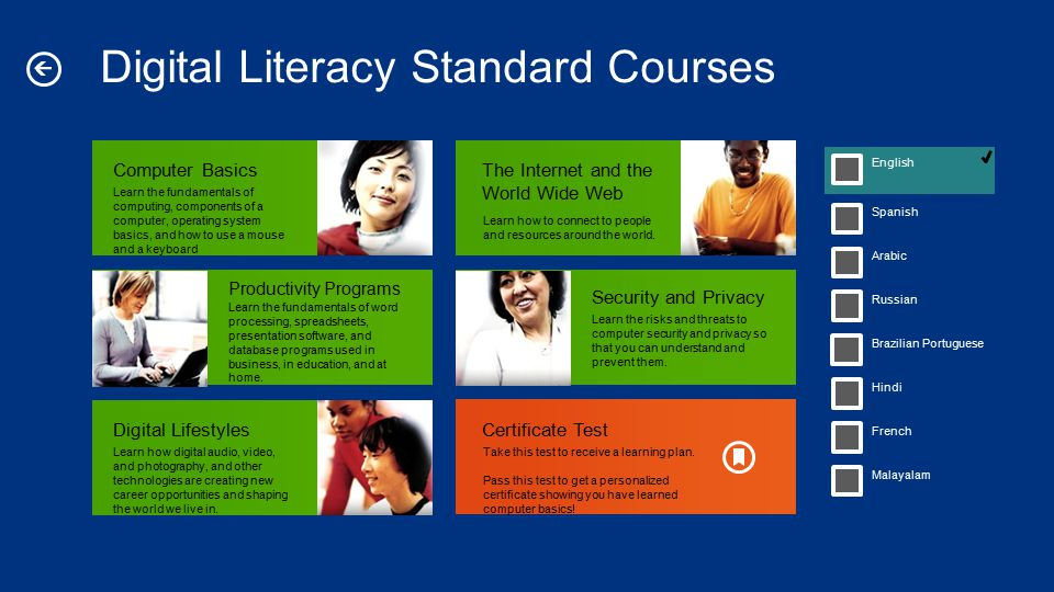 Digital Literacy Standard Courses Learn the fundamentals of computing, components of a computer, operating system basics, and how to use a mouse and a