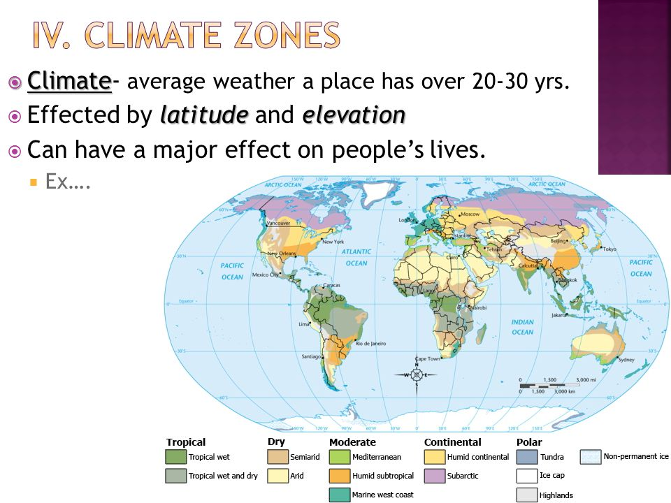  Climate  Climate- average weather a place has over 20-30 yrs.