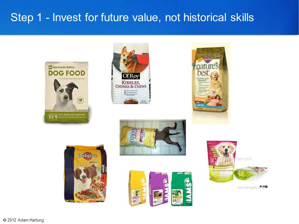 Step 1 - Invest for future value, not historical skills  2012 Adam Hartung