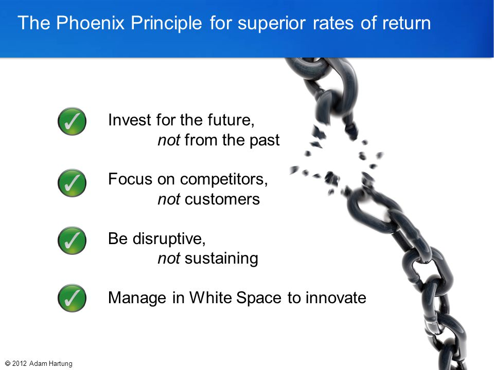 The Phoenix Principle for superior rates of return  2012 Adam Hartung Invest for the future, not from the past Focus on competitors, not customers Be disruptive, not sustaining Manage in White Space to innovate