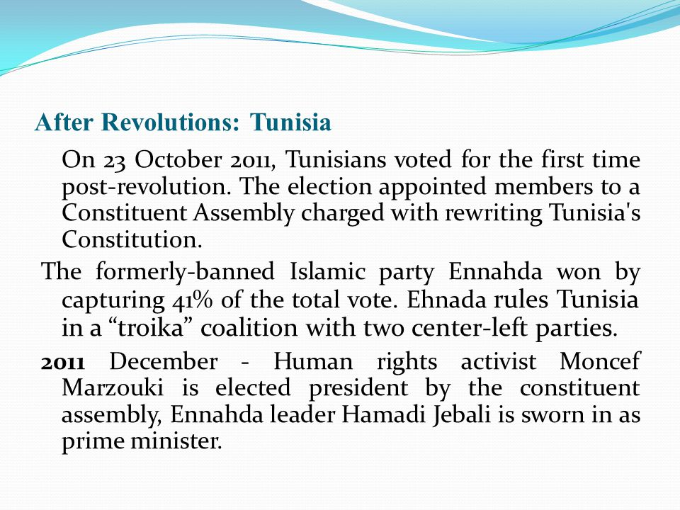 After Revolutions: Tunisia On 23 October 2011, Tunisians voted for the first time post-revolution.