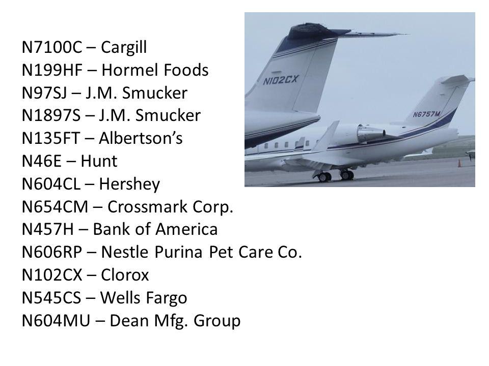 N7100C – Cargill N199HF – Hormel Foods N97SJ – J.M.