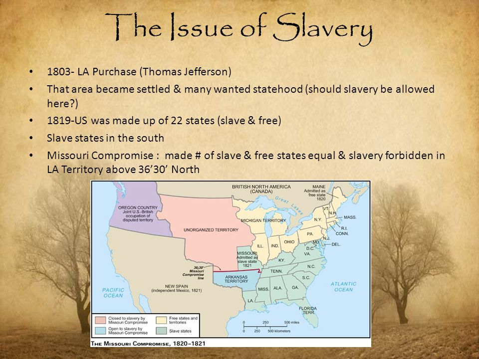 1803- LA Purchase (Thomas Jefferson) That area became settled & many wanted statehood (should slavery be allowed here?) 1819-US was made up of 22 stat