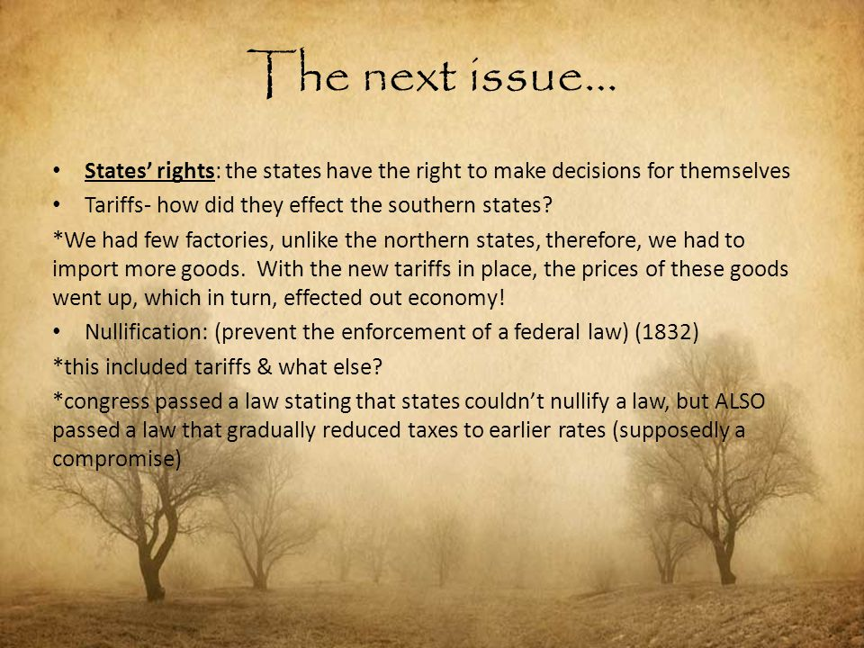 The next issue… States' rights: the states have the right to make decisions for themselves Tariffs- how did they effect the southern states? *We had f