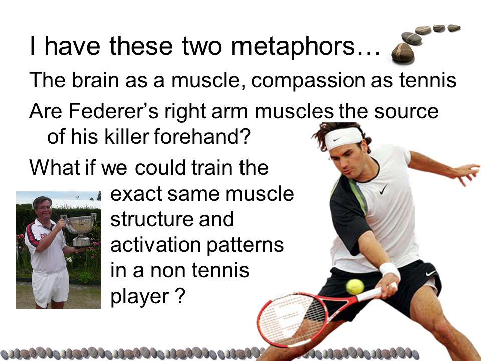 I have these two metaphors… The brain as a muscle, compassion as tennis Are Federer's right arm muscles the source of his killer forehand.