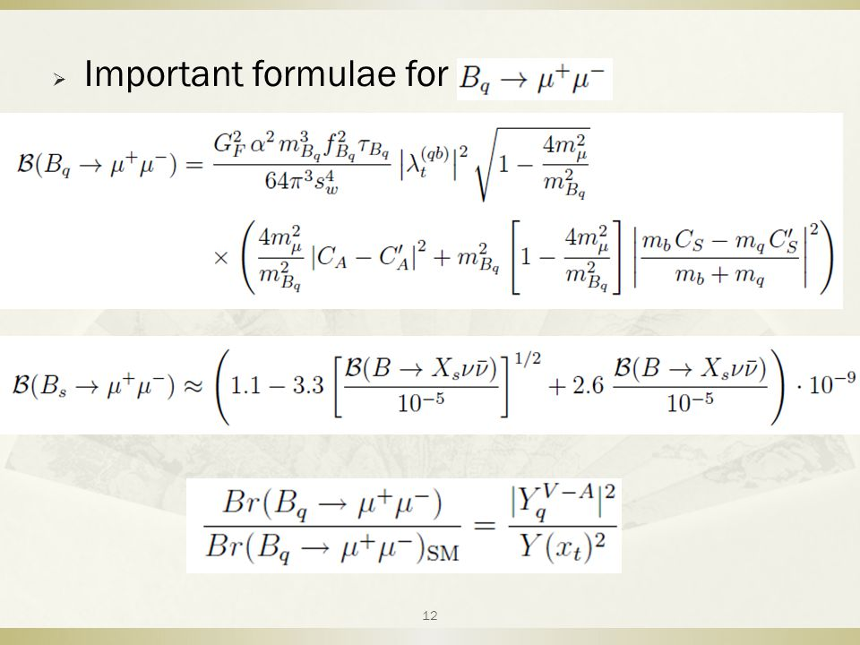  Important formulae for 12