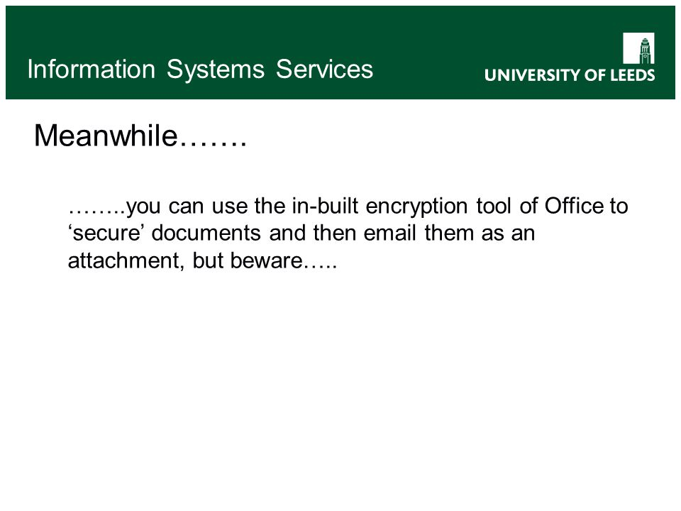 Information Systems Services Meanwhile…….