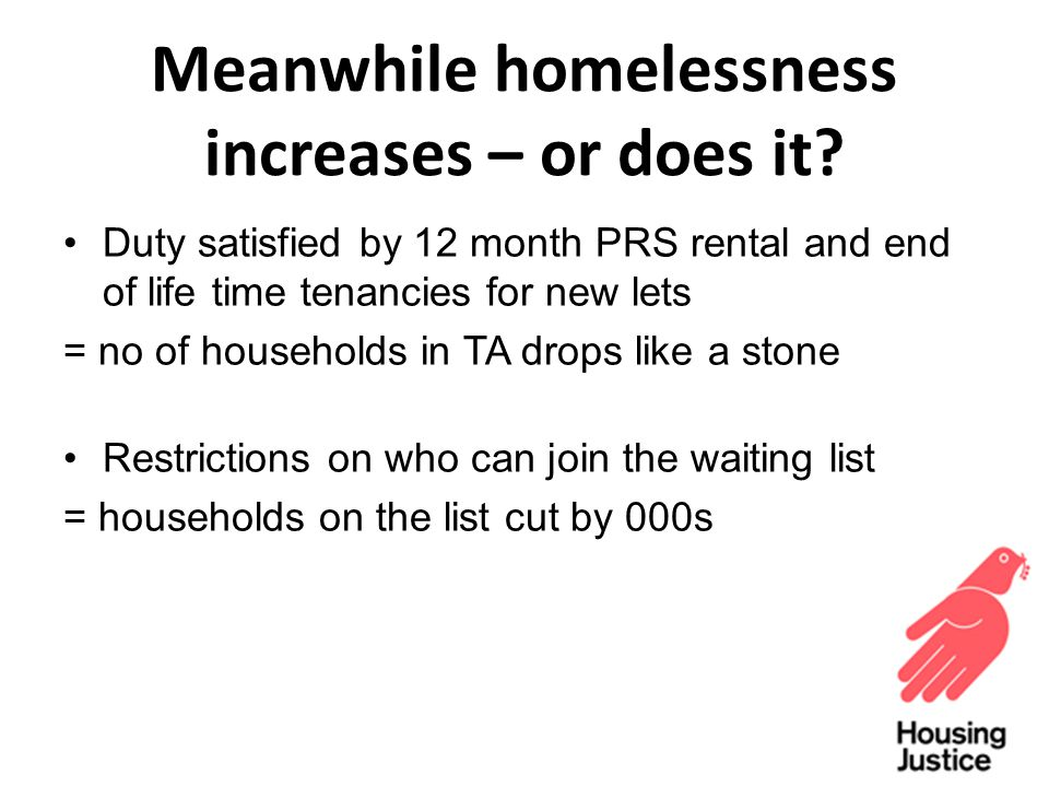 Meanwhile homelessness increases – or does it.