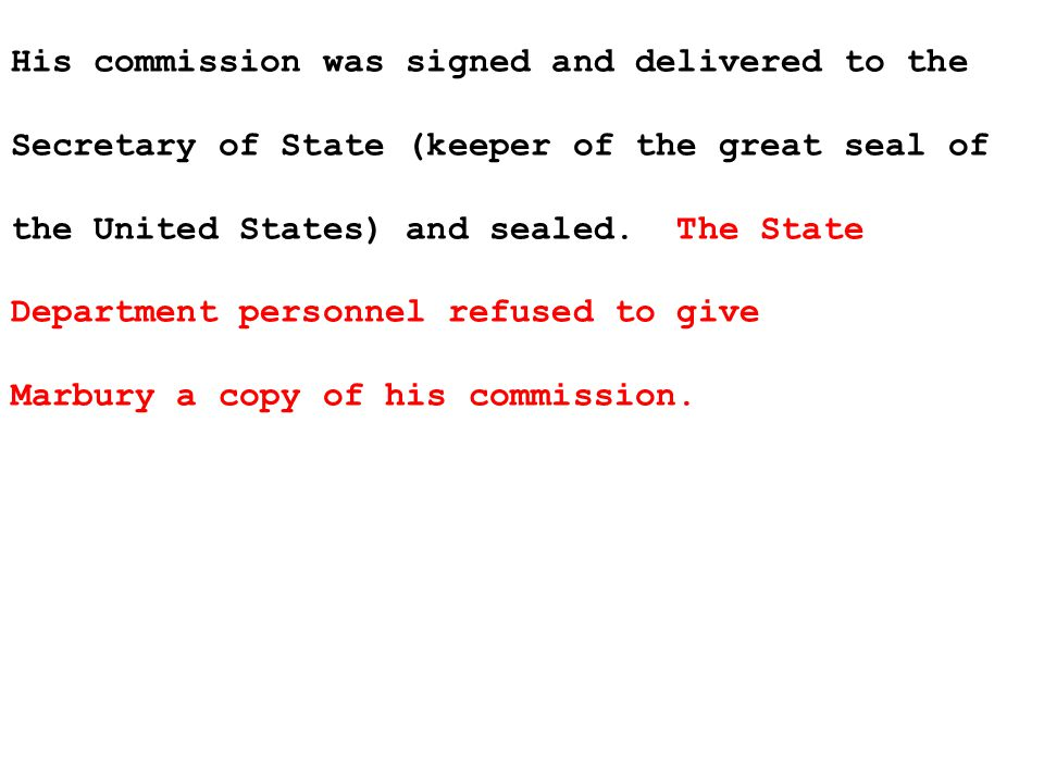 He brought suit to force Secretary of State James Madison to give him a copy.