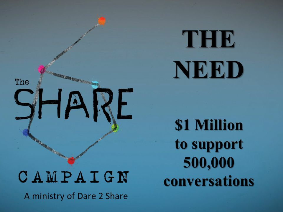 THE NEED $1 Million to support 500,000 conversations A ministry of Dare 2 Share
