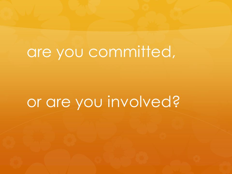 are you committed, or are you involved?