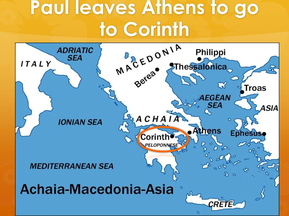 Paul leaves Athens to go to Corinth