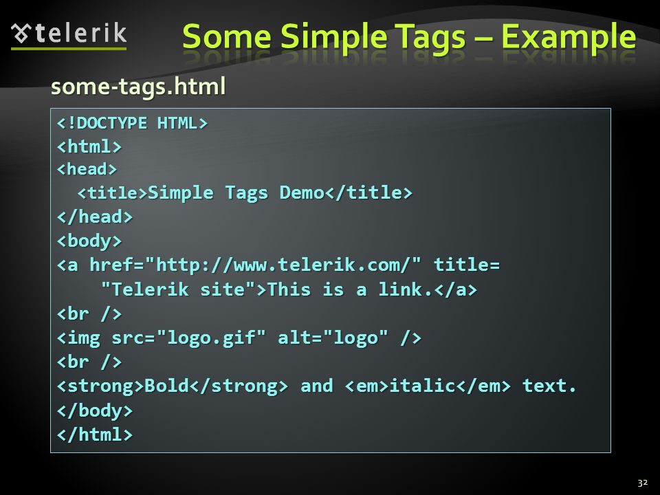 32 <html><head> Simple Tags Demo Simple Tags Demo </head><body> <a href= http://www.telerik.com/ title= Telerik site >This is a link.