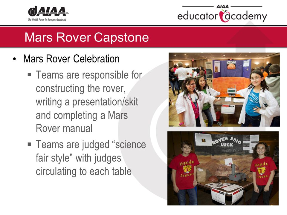 Mars Rover Capstone Mars Rover Celebration  Teams are responsible for constructing the rover, writing a presentation/skit and completing a Mars Rover manual  Teams are judged science fair style with judges circulating to each table