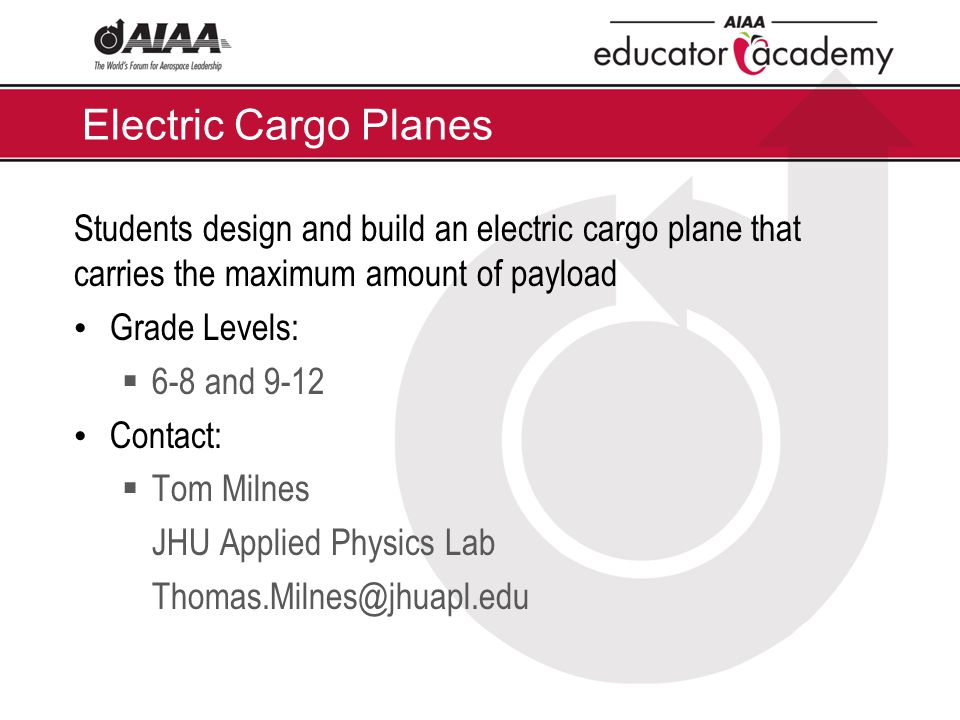 Electric Cargo Planes Students design and build an electric cargo plane that carries the maximum amount of payload Grade Levels:  6-8 and 9-12 Contac