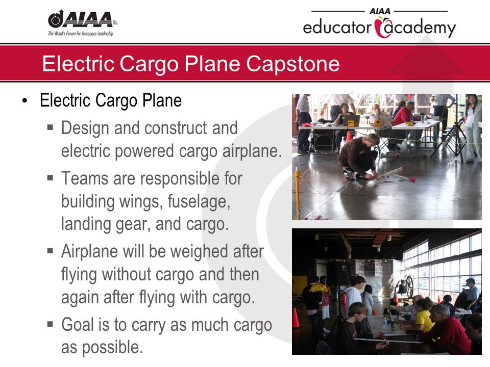 Electric Cargo Plane Capstone Electric Cargo Plane  Design and construct and electric powered cargo airplane.