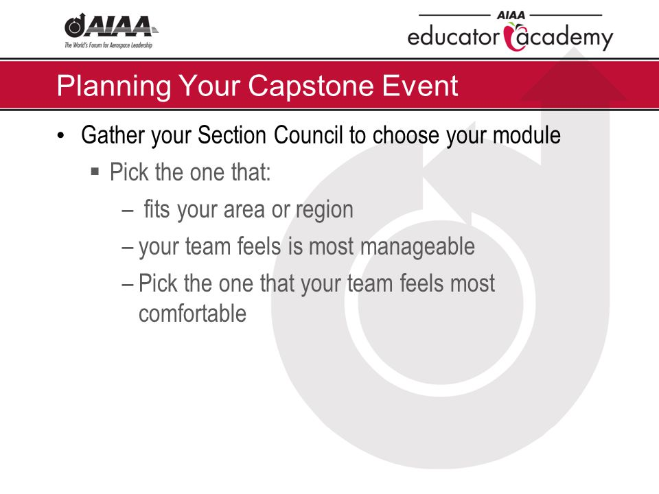Planning Your Capstone Event Gather your Section Council to choose your module  Pick the one that: – fits your area or region –your team feels is most manageable –Pick the one that your team feels most comfortable