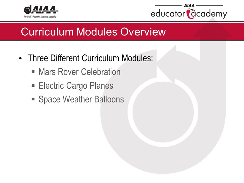 Curriculum Modules Overview Three Different Curriculum Modules:  Mars Rover Celebration  Electric Cargo Planes  Space Weather Balloons