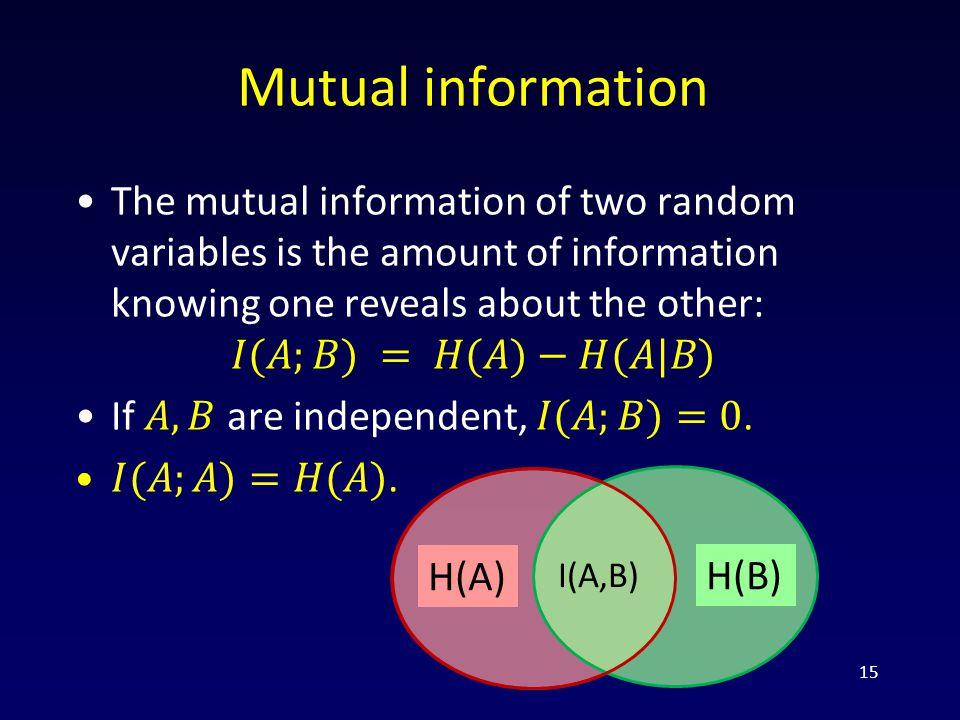 Mutual information 15 H(A) H(B) I(A,B)