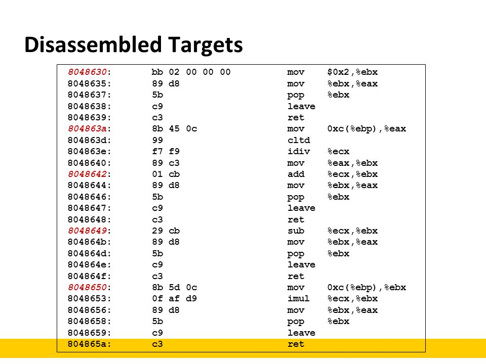 Disassembled Targets 8048630: bb 02 00 00 00 mov $0x2,%ebx 8048635: 89 d8 mov %ebx,%eax 8048637: 5b pop %ebx 8048638: c9 leave 8048639: c3 ret 804863a