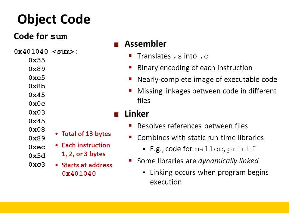 Code for sum 0x401040 : 0x55 0x89 0xe5 0x8b 0x45 0x0c 0x03 0x45 0x08 0x89 0xec 0x5d 0xc3 Object Code Assembler  Translates.s into.o  Binary encoding