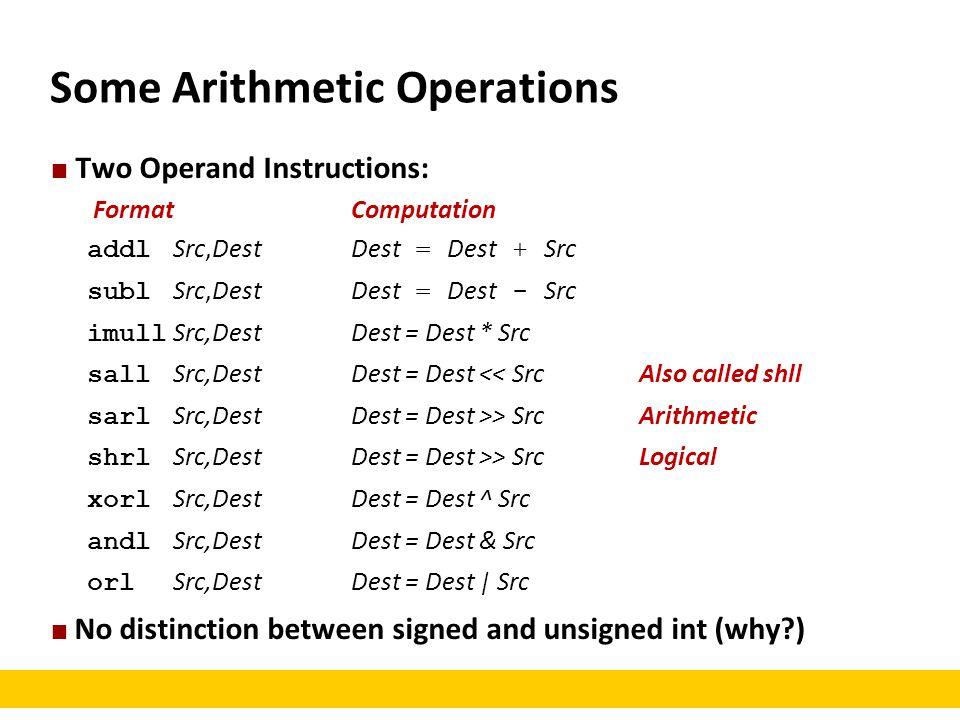 Some Arithmetic Operations Two Operand Instructions: FormatComputation addl Src,DestDest = Dest + Src subl Src,DestDest = Dest - Src imull Src,DestDes