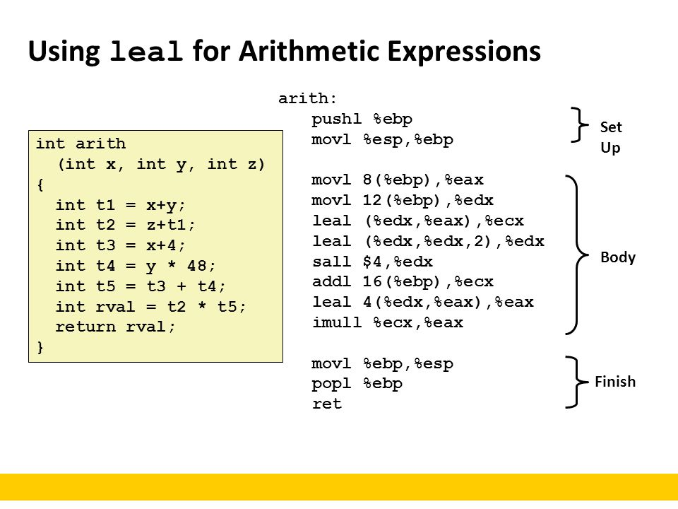 Using leal for Arithmetic Expressions int arith (int x, int y, int z) { int t1 = x+y; int t2 = z+t1; int t3 = x+4; int t4 = y * 48; int t5 = t3 + t4;