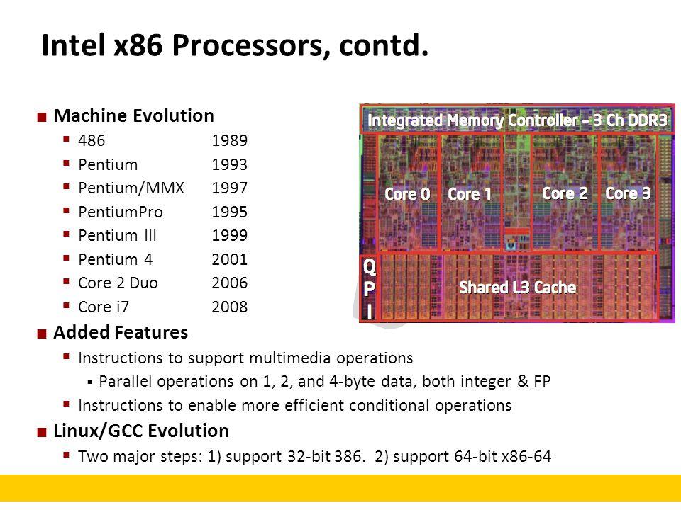 Intel x86 Processors, contd. Machine Evolution  48619891.9M  Pentium19933.1M  Pentium/MMX19974.5M  PentiumPro19956.5M  Pentium III19998.2M  Pent