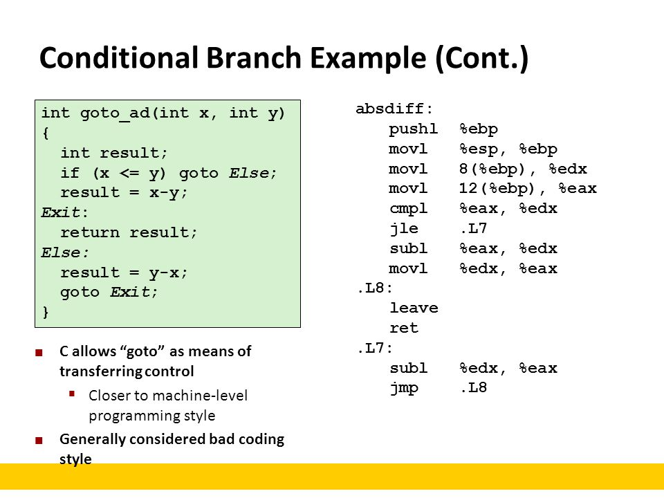 Conditional Branch Example (Cont.) int goto_ad(int x, int y) { int result; if (x <= y) goto Else; result = x-y; Exit: return result; Else: result = y-