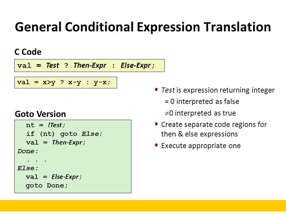 C Code val = Test ? Then-Expr : Else-Expr ; Goto Version nt = !Test ; if (nt) goto Else; val = Then-Expr ; Done:... Else: val = Else-Expr ; goto Done;