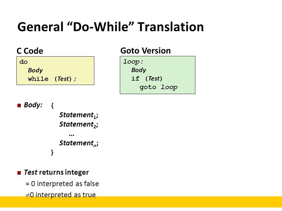 "C Code do Body while ( Test ); Goto Version loop: Body if ( Test ) goto loop General ""Do-While"" Translation Body: Test returns integer = 0 interpreted"
